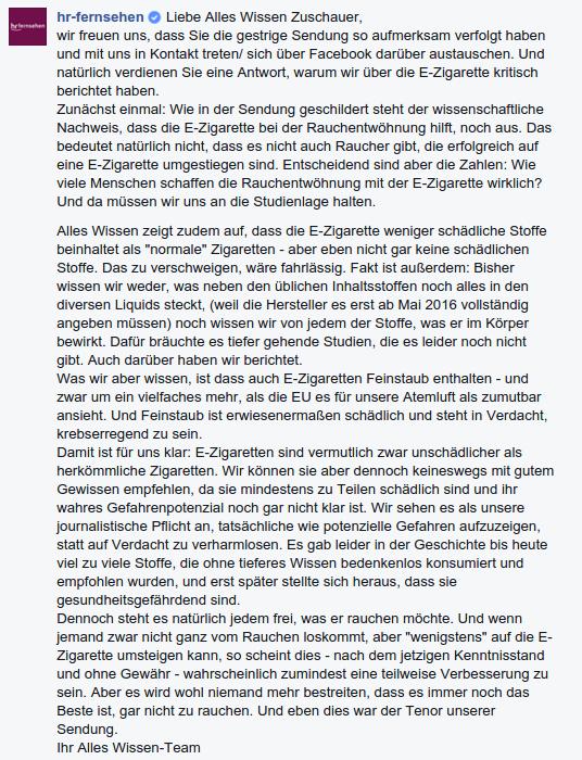 Hessischer Rundfunk reagiert auf Kritik zum Beitrag über die Ezigarette auf Facebook!